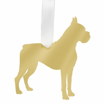 moon and lola boxer christmas ornament - gold