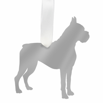 moon and lola boxer christmas ornament - silver