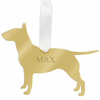 moon and lola bull terrier christmas ornament - silver