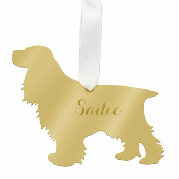 moon and lola cocker spaniel christmas ornament - gold