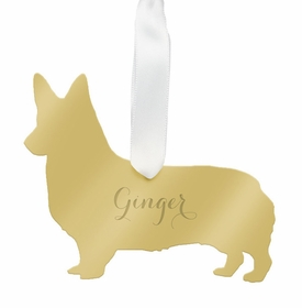 moon and lola corgi christmas ornament - gold