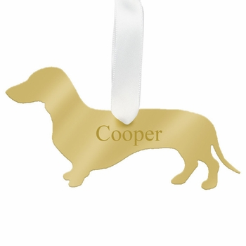 moon and lola dachshund christmas ornament - silver