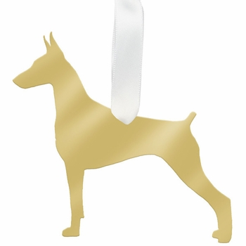 moon and lola doberman pinscher christmas ornament - silver