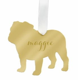 moon and lola english bulldog christmas ornament - gold