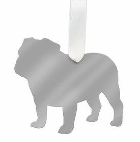 moon and lola english bulldog christmas ornament- silver
