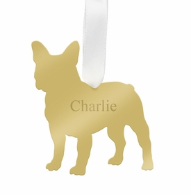 moon and lola french bulldog christmas ornament - gold