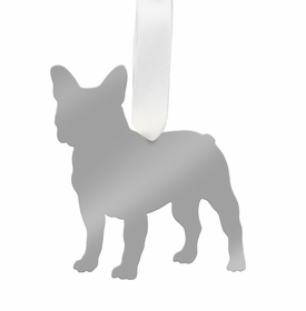moon and lola french bulldog ornament - silver