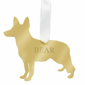 moon and lola german shepherd christmas ornament - silver