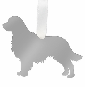 moon and lola golden retriever christmas ornament - silver