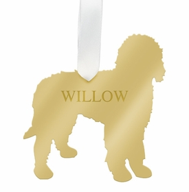 moon and lola goldendoodle christmas ornament - gold