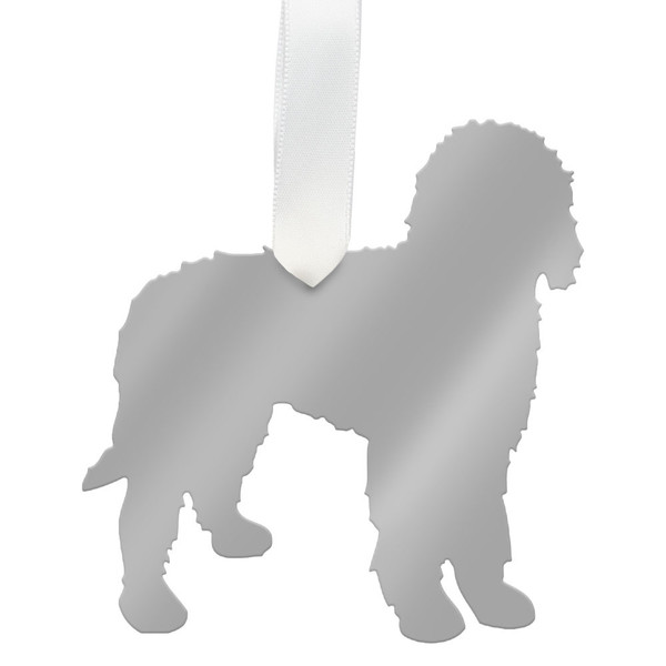 moon and lola goldendoodle christmas ornament silver