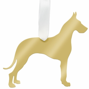 moon and lola great dane christmas ornament - gold