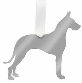 moon and lola great dane christmas ornament - silver