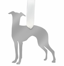 moon and lola greyhound christmas ornament - silver