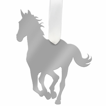 moon and lola horse christmas ornament - silver