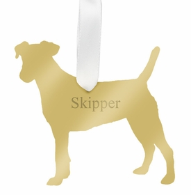 moon and lola jack russell terrier christmas ornament - gold