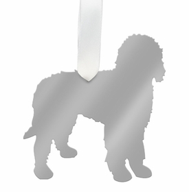 moon and lola labradoodle christmas ornament - silver