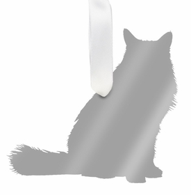 moon and lola long haired cat ornament - silver