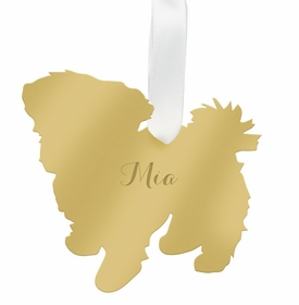 moon and lola maltese christmas ornament - gold