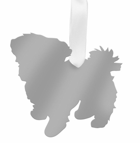 moon and lola maltese christmas ornament - silver