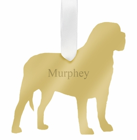 moon and lola mastiff christmas ornament - gold