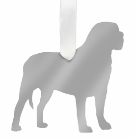 moon and lola mastiff christmas ornament - silver