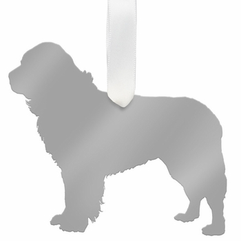 moon and lola newfoundland christmas ornament - silver