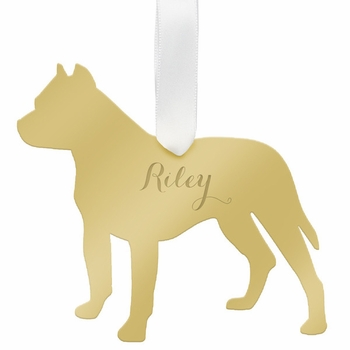 moon and lola pitbull christmas ornament - silver