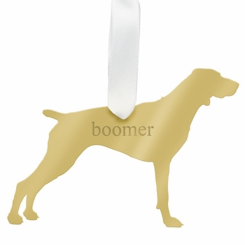 moon and lola pointer christmas ornament - gold