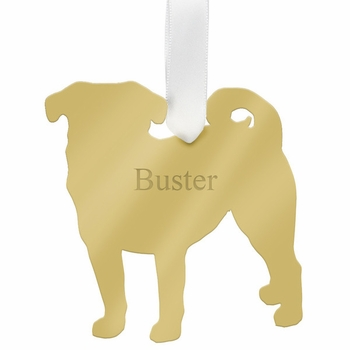 moon and lola pug christmas ornament - gold