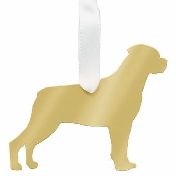 moon and lola rottweiler christmas ornament - gold