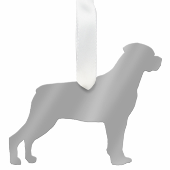 moon and lola rottweiler christmas ornament - silver