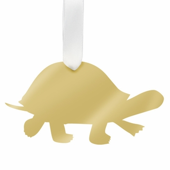 moon and lola turtle christmas ornament - gold