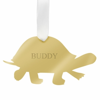 moon and lola turtle christmas ornament - silver