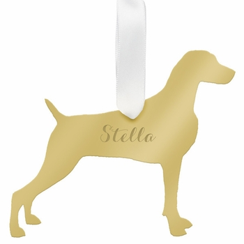 moon and lola weimaraner christmas ornament - gold