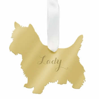 moon and lola west highland terrier christmas ornament - silver