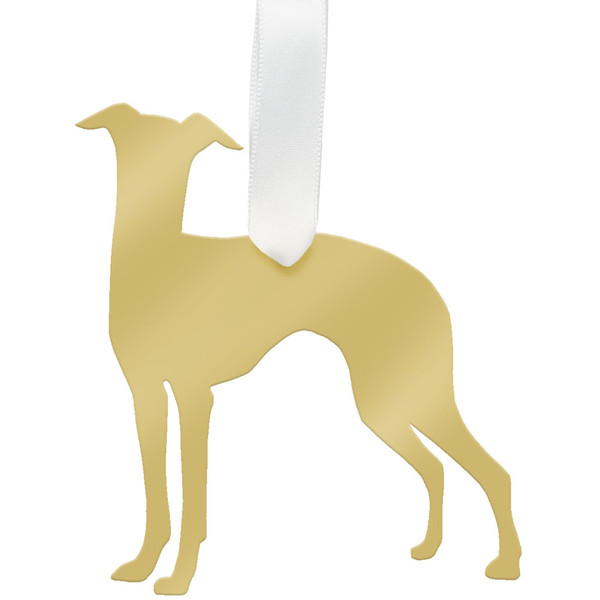 moon and lola greyhound christmas ornament - gold - Moon & Lola Greyhound Christmas Ornament - Gold