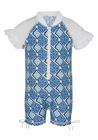 moroccan short sleeve sunsuit