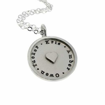 mother silver heart necklace