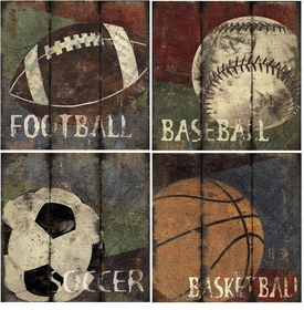 Superb My Sports Canvas (set Of 4)