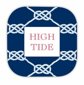 nautical knot navy hardback rounded coaster<br>(set of 4)