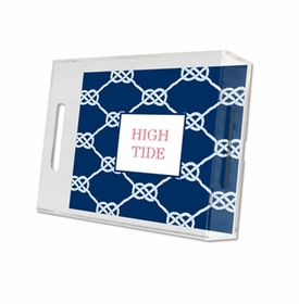 nautical knot navy lucite tray - small