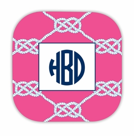 nautical knot raspberry hardback rounded coaster<br>(set of 4)