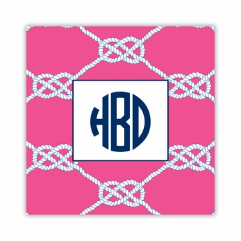 nautical knot raspberry square paper coaster<br>set of 50