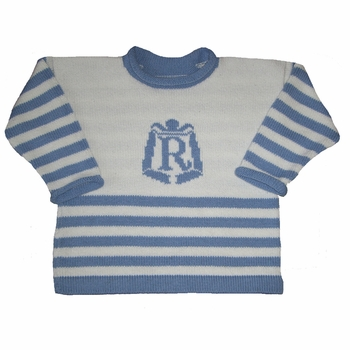 nautical sweater with personalized crest