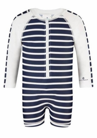 navy and white french stripe long sleeve sunsuit