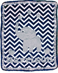 navy chevron elephant blanket with stars
