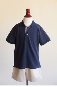 Navy Polo with Gingham Placket