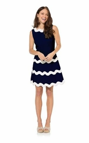 navy ric rac fit and flare dress