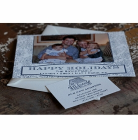 navy snow holiday card